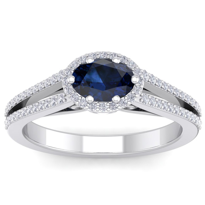 1.5 Carat Oval Shape Antique Sapphire & Halo Diamond Ring in 14K