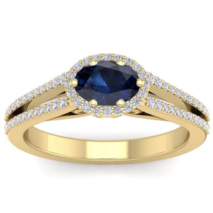1.5 Carat Oval Shape Antique Sapphire & Halo Diamond Ring in 14K Yellow Gold (3.8 g), H/I by SuperJeweler