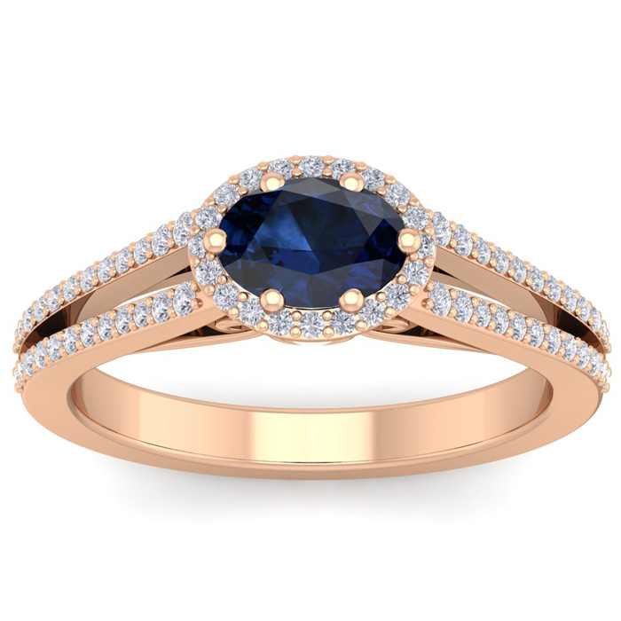 1.5 Carat Oval Shape Antique Sapphire & Halo Diamond Ring in 14K