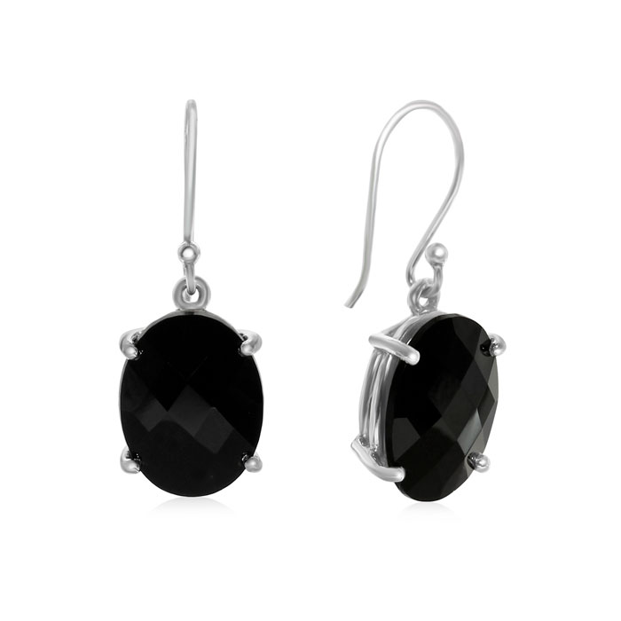 19 Carat Oval Natural Black Onyx Dangle Earrings in Sterling Silver by SuperJeweler
