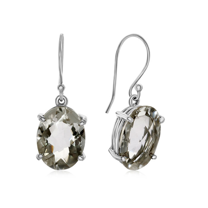 Image of 20 Carat Oval Natural Crystal Dangle Earrings In Sterling Silver