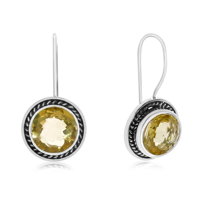 7 Carat Lemon Quartz Earrings in Sterling Silver w/ Rope Detail b