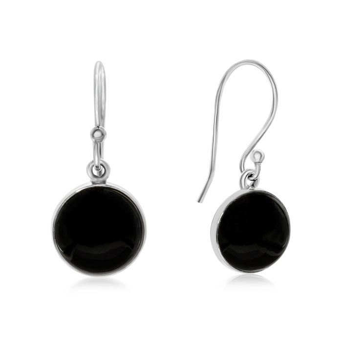 8 Carat Cabochon Cut Black Onyx Earrings in Sterling Silver by Su