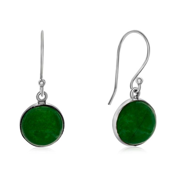 7 1/2 Carat Cabochon Cut Green Jade Earrings in Sterling Silver by SuperJeweler