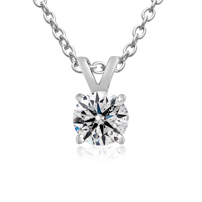 Nearly 1/2 Carat 14k White Gold Diamond Pendant Necklace, K/L, 18