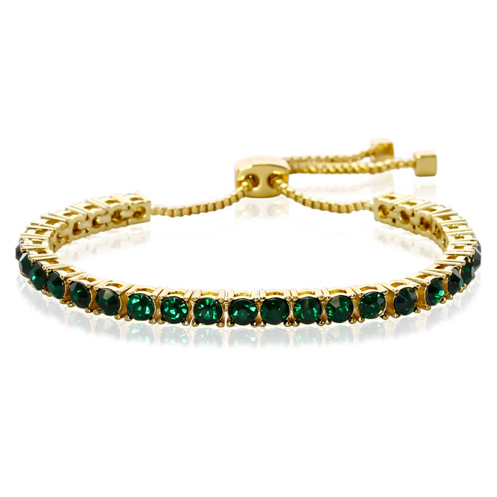 Emerald Crystal Adjustable Bolo Bracelet In Gold