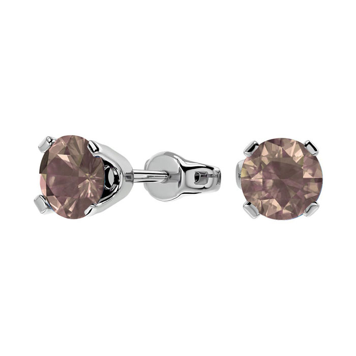 1 Carat Chocolate Bar Brown Champagne Diamond Stud Earrings in 14