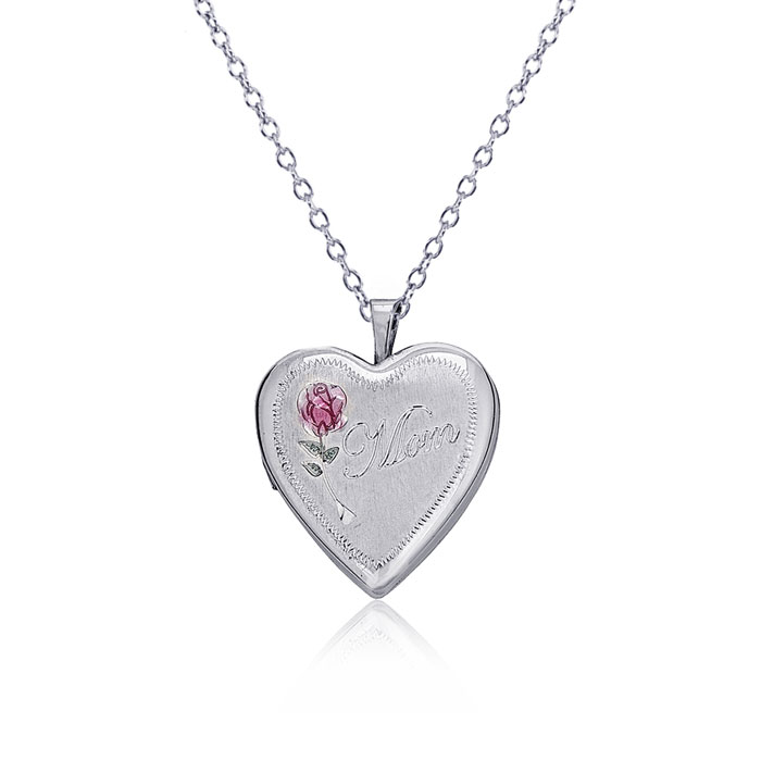 Sterling Silver Rose Heart Locket and 18