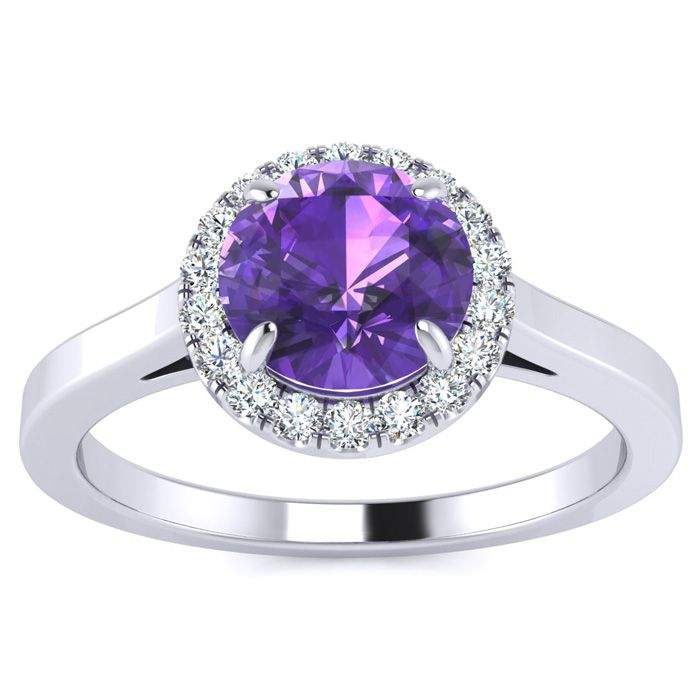 3/4 Carat Round Shape Amethyst & Halo Diamond Ring in 14K White G