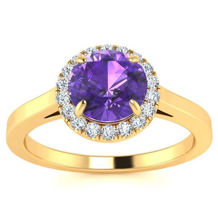 3/4 Carat Round Shape Amethyst & Halo Diamond Ring in 14K Yellow