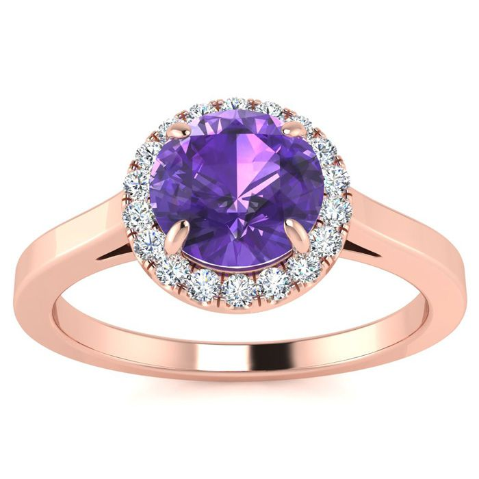 3/4 Carat Round Shape Amethyst & Halo Diamond Ring in 14K Rose Go