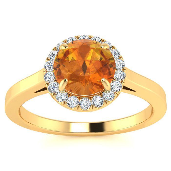 3/4 Carat Round Shape Citrine & Halo Diamond Ring in 14K Yellow G