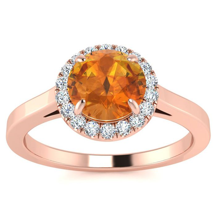 3/4 Carat Round Shape Citrine & Halo Diamond Ring in 14K Rose Gol
