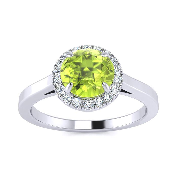 1 Carat Round Shape Peridot & Halo Diamond Ring in 14K White Gold