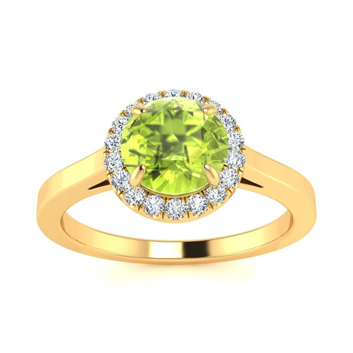 1 Carat Round Shape Peridot and Halo Diamond Ring In 14 Karat Yellow Gold