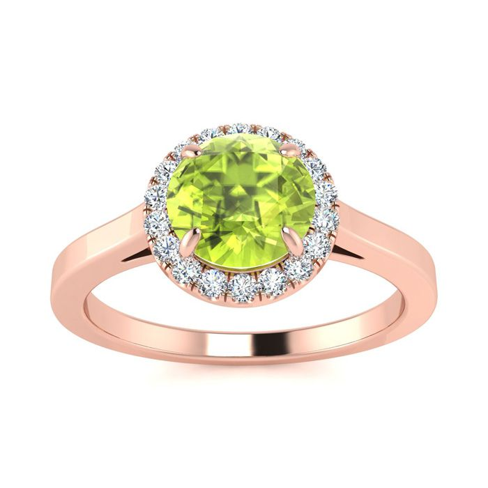 Image of 1 Carat Round Shape Peridot and Halo Diamond Ring In 14 Karat Rose Gold