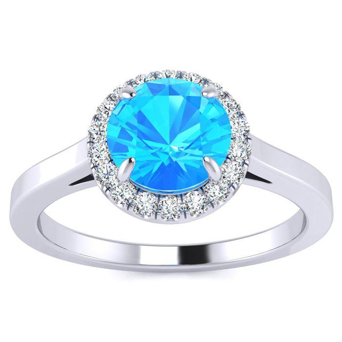 Image of 1 Carat Round Shape Blue Topaz and Halo Diamond Ring In 14 Karat White Gold