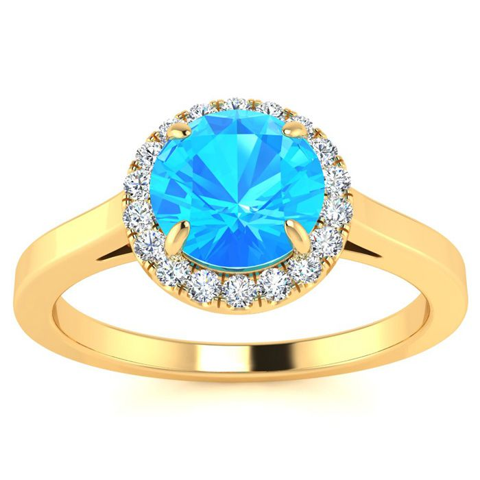 Image of 1 Carat Round Shape Blue Topaz and Halo Diamond Ring In 14 Karat Yellow Gold