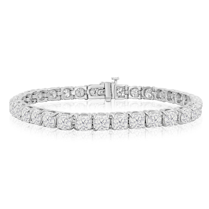 Image of 6.5 INCH CUSTOM ORDER 10 Carat Round Setting Diamond Tennis Bracelet In 14k White Gold