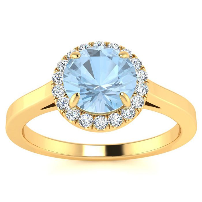 1 Carat Round Shape Aquamarine and Halo Diamond Ring In 14 Karat Yellow Gold