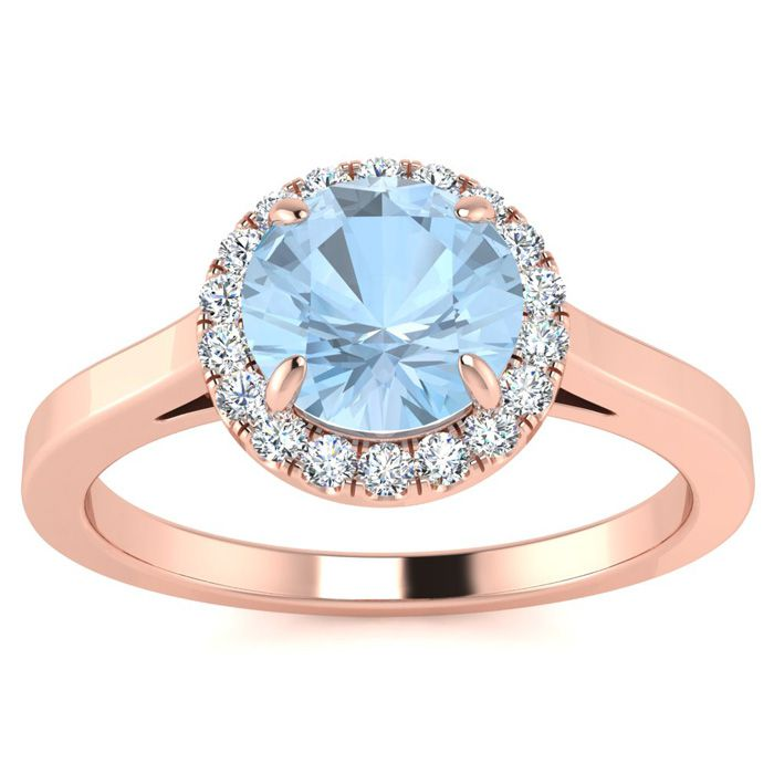 1 Carat Round Shape Aquamarine and Halo Diamond Ring In 14 Karat Rose Gold