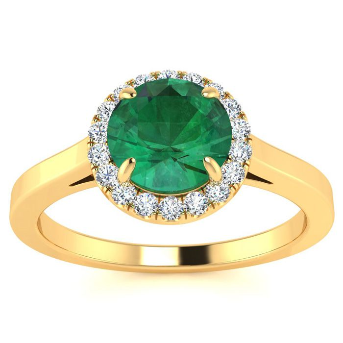 1 Carat Round Shape Emerald Cut & Halo Diamond Ring in 14K Yellow Gold (3.2 g), H/I by SuperJeweler
