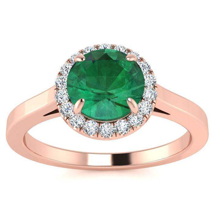 1 Carat Round Shape Emerald Cut & Halo Diamond Ring in 14K Rose G
