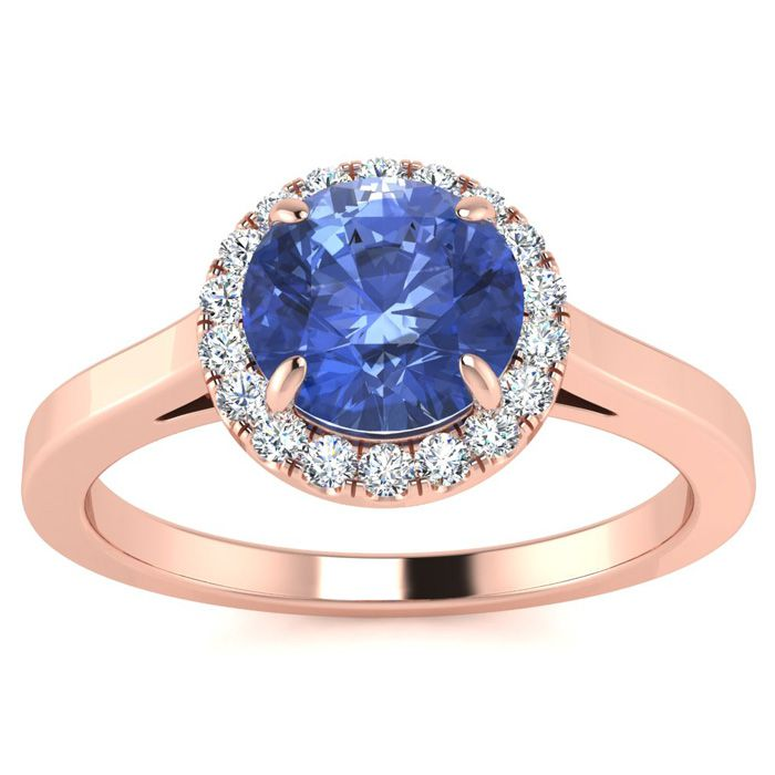 1 Carat Round Shape Tanzanite & Halo Diamond Ring in 14K Rose Gol