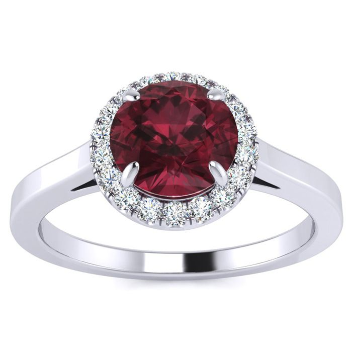 1.25 Carat Round Shape Garnet & Halo Diamond Ring in 14K White Go