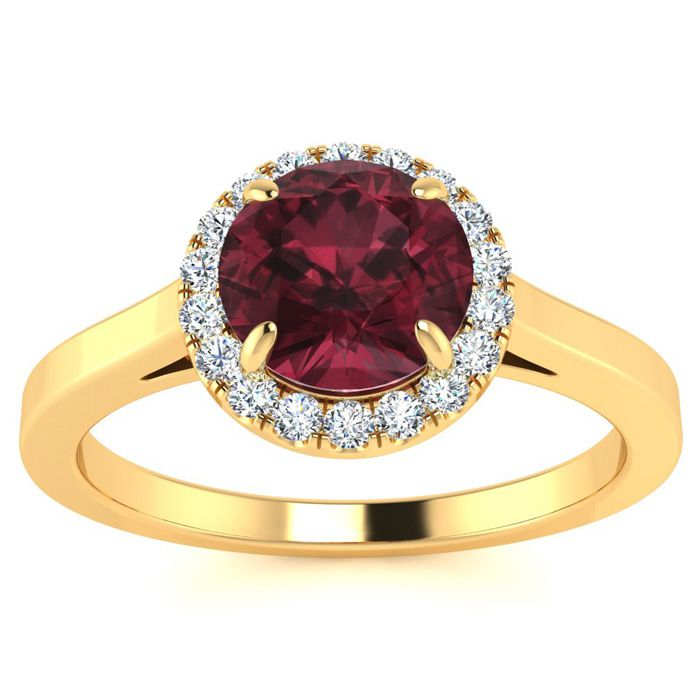 1.25 Carat Round Shape Garnet & Halo Diamond Ring in 14K Yellow G