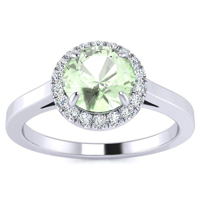 3/4 Carat Round Shape Green Amethyst & Halo Diamond Ring in 14K W