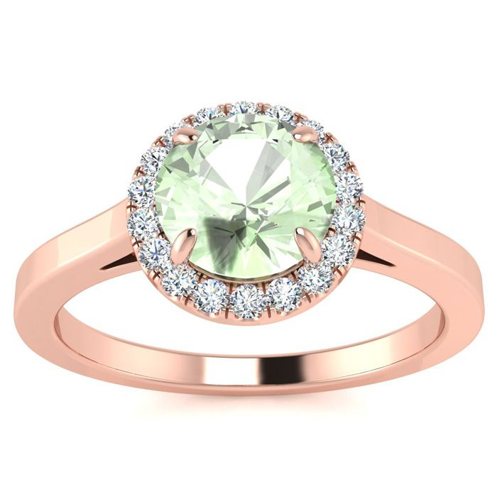 3/4 Carat Round Shape Green Amethyst & Halo Diamond Ring in 14K R