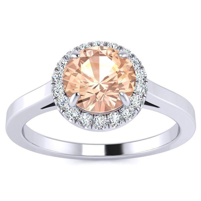 1 Carat Round Shape Morganite & Halo Diamond Ring in 14K White Go