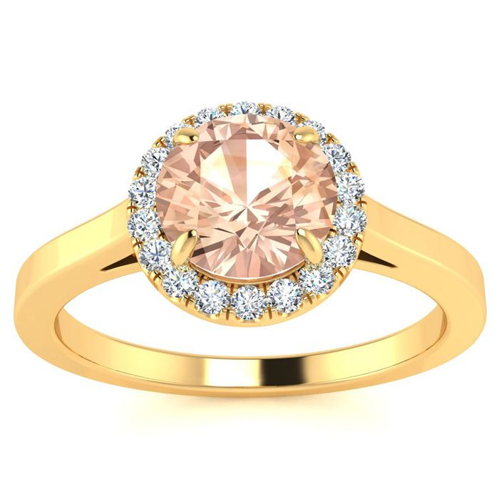 1 Carat Round Shape Morganite & Halo Diamond Ring in 14K Yellow G
