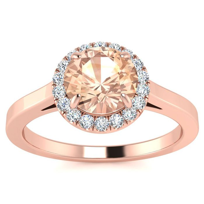 Image of 1 Carat Round Shape Morganite and Halo Diamond Ring In 14 Karat Rose Gold