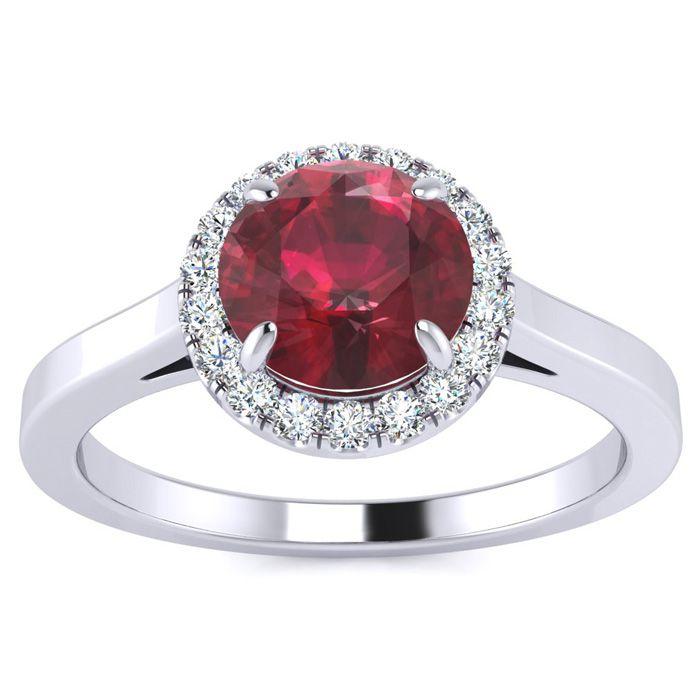 1 Carat Round Shape Ruby & Halo Diamond Ring in 14K White Gold (3