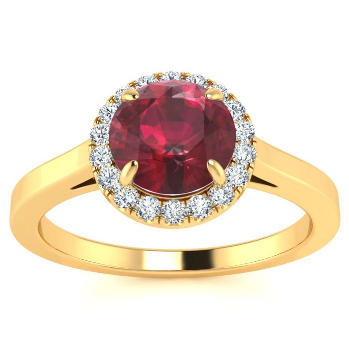 1 Carat Round Shape Ruby & Halo Diamond Ring in 14K Yellow Gold (3.2 g), H/I by SuperJeweler