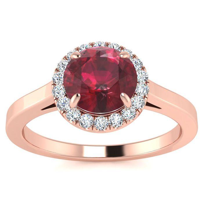 1 Carat Round Shape Ruby & Halo Diamond Ring in 14K Rose Gold (3.