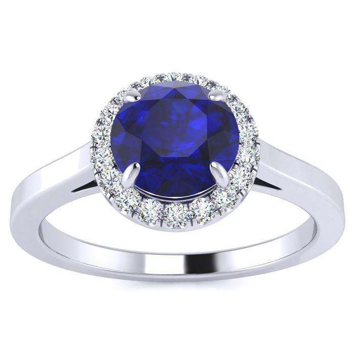 1 Carat Round Shape Sapphire & Halo Diamond Ring in 14K White Gol