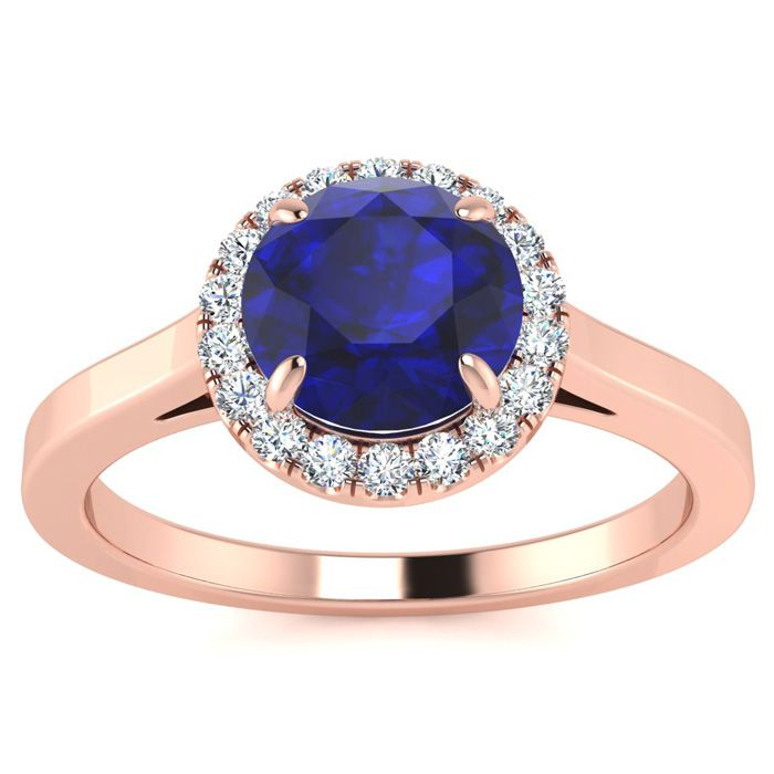 1 Carat Round Shape Sapphire & Halo Diamond Ring in 14K Rose Gold