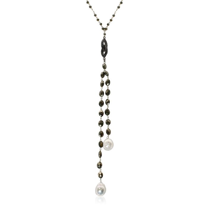 30 Carat Pyrite & Pearl Y Bar Strand Necklace in 14K Yellow Gold