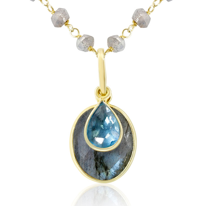15 Carat Blue Topaz & Labradorite Necklace in 14K Yellow Gold Ove