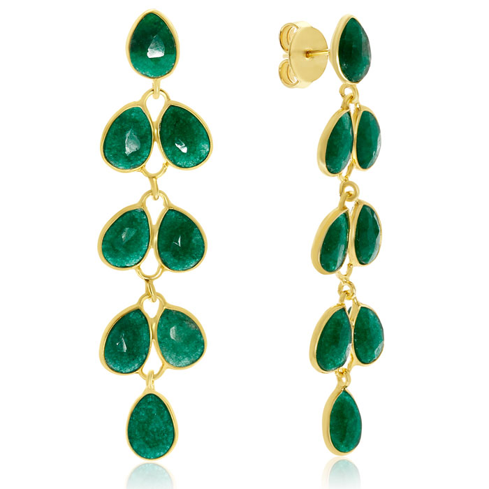 10 Carat Emerald Feather Earrings In 14K Yellow Gold