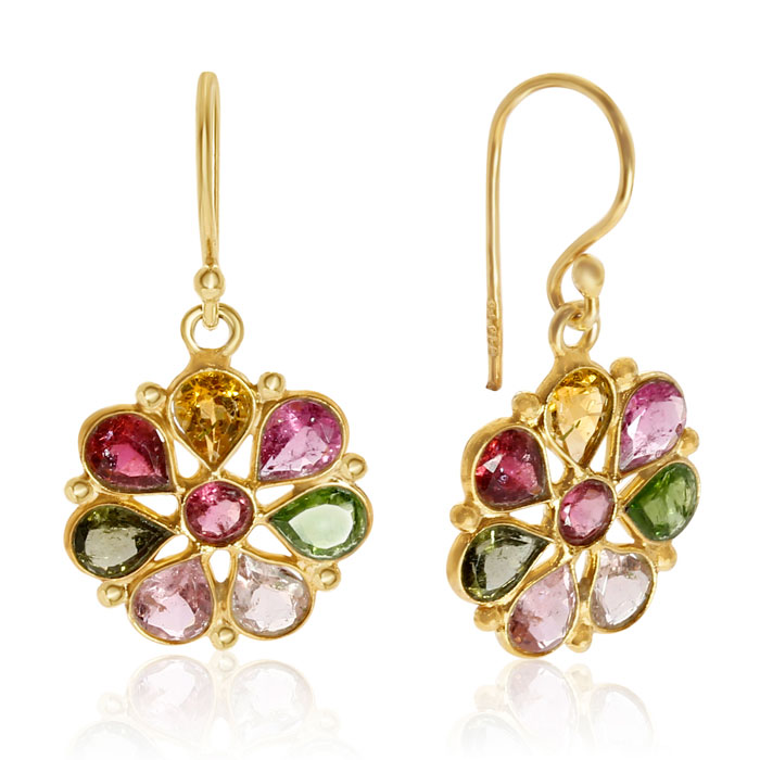 8 Carat Multi Gemstone Flower Earrings in 14K Yellow Gold Over St