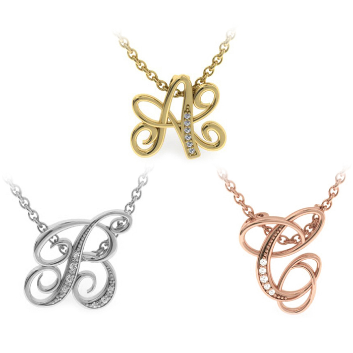 Serif Diamond Initial Diamond Necklace in Yellow Gold, White Gold