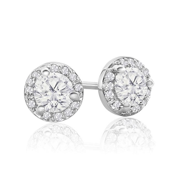 18k White Gold 2 3 Carat Halo Diamond Stud Earrings Martini Setting Item Number Jwl 24581
