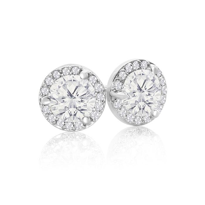 14k White Gold 1 8 Carat Halo Diamond Stud Earrings Martini Setting Item Number Jwl 24582