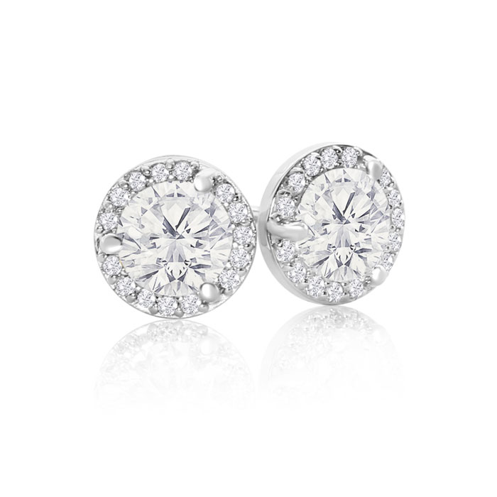 14K White Gold 1 1/8 Carat Halo Diamond Stud Earrings, Martini Se