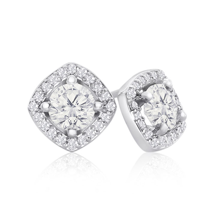 14K White Gold 1 1/5 Carat Cushion Cut Halo Diamond Stud Earrings