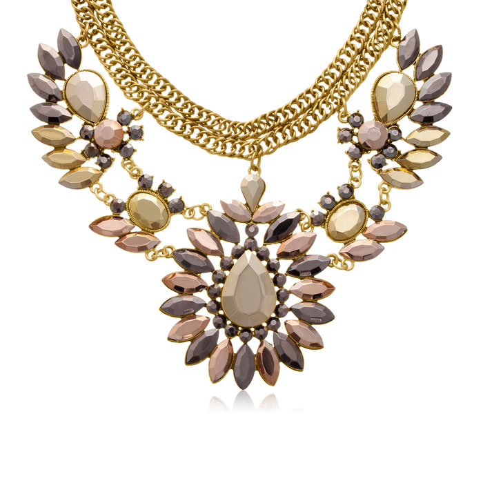 Metallic Crystal Choker Bib Necklace in Gold Overlay, 14 Inch Cha